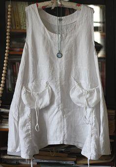 Vintage linen tunic dress, natural linen, pockets, lagenlook                                                                                                                                                      More