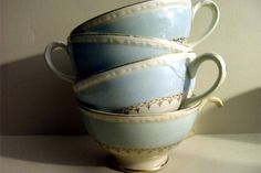 Your place to buy and sell all things handmade Blue Coffee Cups, Tea Cups, 22 Carat Gold, Homer Laughlin, Egg Shells, Floral Bouquets, Pink Roses, Tea Party, Delicate