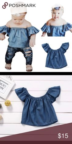 b5e6ca020 Baby Girl off the shoulder tops denim top girl Perfect for summer Shirts &  Tops Tees - Short Sleeve