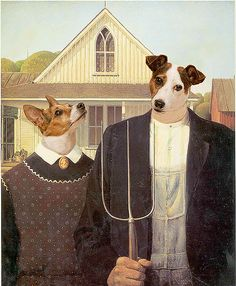 Canine Gothic 36 Pop Cultural Reinventions Of The American Gothic Painting American Gothic Painting, American Gothic House, American Gothic Parody, American Art, Grant Wood, Iowa, Artist Grants, Famous Artwork, Art Institute Of Chicago