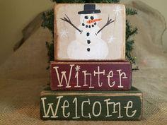 Primitive Country Snowman Winter Welcome 3 pc Shelf Sitter Wood Block Set #PrimitiveCountry