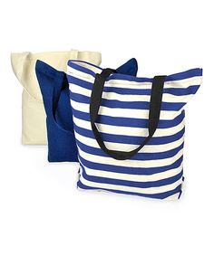 Loving this Blue & White Canvas Bags - Set of Three on #zulily! #zulilyfinds