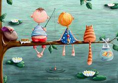 Risultati immagini per elina ellis illustration Art Fantaisiste, Children's Book Illustration, Whimsical Art, Cat Art, Illustrations Posters, Arts And Crafts, Artsy, Drawings, Artwork