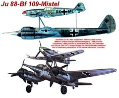 The most successful of these used a modified Junkers Ju 88 bomber as the Mistel, with the entire nose-located crew compartment replaced by a specially designed nose filled with a large load of explosives, formed into a shaped charge. The upper component was a fighter aircraft, joined to the Mistel by struts. The combination would be flown to its target by a pilot in the fighter; then the unmanned bomber was released to hit its target and explode, leaving the fighter free to return to base…