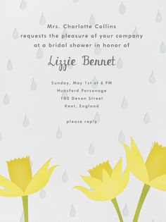 April Showers by Paperless Post.  Create beautiful bridal shower invitations with our easy-to-use design tools and RSVP tracking. Available online or on paper. View more wedding-related invitations on paperlesspost.com.