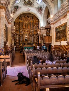 Interior of Mission San Xavier del Bac, just south of Tucson on the Tohono O'odham reservation.
