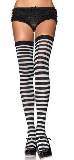 dac43f5cd0b Nylon Striped Thigh Highs Black Hot Pink - Nylon Striped Thigh Highs by Leg  Avenue. O S Nylon Polyester Hand Wash Cold Only Non Chlorine Ble.
