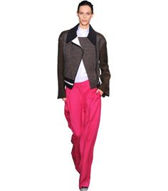 Stella McCartney. Make the pants out of silk 4-ply and combine different wool coatings for the biker jacket.