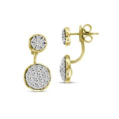 Back And Front Pave Earring Jackets, 18K Yellow Gold