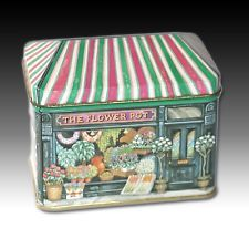 "THE FLOWER POT"" TIN HOUSE SHAPED FLORISTS SHOP LITHO CONTAINER BY ELITE GIFT BOX"