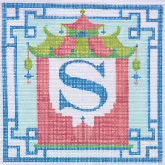 Chinoiserie Pagoda Alphabet in needlepoint