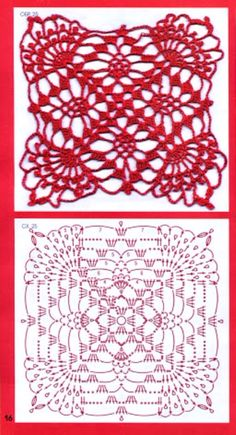 Square crochet flower pattern Mais - Her Crochet Crochet Doily Rug, Crochet Cowl Free Pattern, Crochet Motif Patterns, Crochet Mittens, Granny Square Crochet Pattern, Crochet Diagram, Crochet Chart, Crochet Squares, Crochet Designs