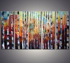 ORIGINAL XLarge Landscape Birch Forest Palette Knife by AMMStudio, $275.00