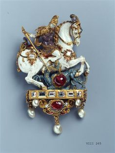 Pendant with Saint George slaying the dragon, Germany, late 16th century. Gold, enamel, diamonds ten, six rubies, emerald, seven pearls. H 8.2 cm, W 5.1 cm; inventory number: VIII 265, Green Vault © Staatliche Kunstsammlungen Dresden 2016