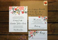 Secret Garden Printable 3-Piece Wedding Invitation Suite with RSVP and Details