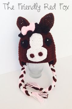 Little Horse Crochet Hat with Pink Bow on Etsy 613cd0b9fe3