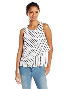XOXO Womens Sleeveless Stripe Asymmetrical Layer Top WhiteBlack Large -- You can get more details by clicking on the image.