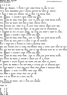 Song Lyrics with guitar chords for Maggie May Guitar Chords For Songs, Guitar Chord Chart, Lyrics And Chords, Guitar Tabs, Music Guitar, Guitar Lessons, Playing Guitar, Learning Guitar, Learn Guitar Beginner