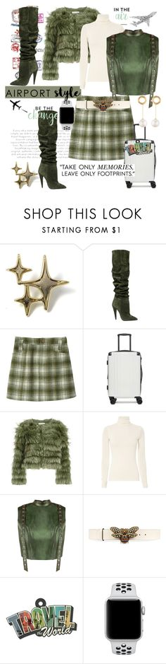 """Airport Style in Over-the-Knee Boots, Mini-Skirt & Faux Fur Jacket✈️"" by mdfletch ❤ liked on Polyvore featuring PATH, Yves Saint Laurent, CalPak, Gucci, NIKE, Joanna Laura Constantine and airportstyle"