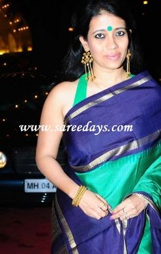 Latest Saree Designs: green and blue pochampally silk saree