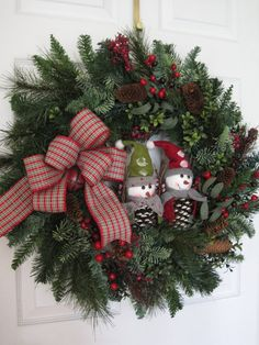 Christmas Wreath Snowman Pinecones Front Door Wreath by FunFlorals