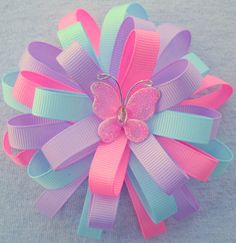 Moño Boutique hair bow pink lavender blue flower loop by Designsbymarlo ., Pink Flower Hairbow Girls Hairbow by GloriaMillerCreation on Etsy, I Ribbon Hair Bows, Diy Hair Bows, Diy Bow, Ribbon Flower, Barrettes, Hairbows, Hair Bow Tutorial, Flower Tutorial, Hair Decorations