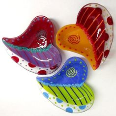 Anne Nye Colorful Fused Glass Heart
