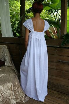 Limited Edition White Cotton Dotted Swiss Nightgown by SarafinaDreams