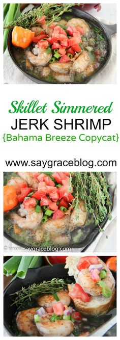 Skillet Simmered Jerk Shrimp (Bahama Breeze Copycat) This Bahama Breeze copycat fire roasted jerk shrimp dish is simmered in a delicious garlic-thyme butter and served with crusty French bread for sopping! Pea Recipes, Shrimp Recipes, Salmon Recipes, Fish Recipes, Seafood Salad, Fish And Seafood, Bahama Breeze, Jerk Shrimp, Sweet Potato Nachos
