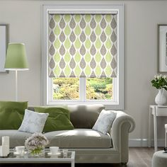 Choices Winter Leaf Spring Green Roller Blind from Blinds 2go