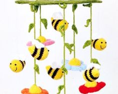 crochet mushroom rattle / colorful baby toy / shower от spikycake