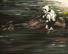 Star Wars painting - Biker scout, speeder bike - Starwars Art - Scout trooper - Acrylic and oil on 10x8 inch canvas by DarkFantasyPaintings on Etsy