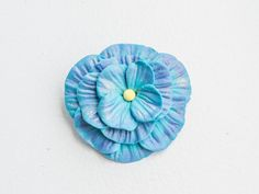 Blue flower brooch , Polymer clay brooch , Flower pin , Bridal flower accessory ,Bag charm, Shabby chic flower , Bag accessory , Boho brooch