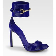 Gucci Ursula Patent Leather Horsebit Ankle Strap Sandals ($660) ❤ liked on Polyvore
