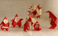 Origami père Noël et pingouin