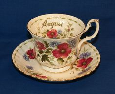 "♥ Royal Albert Bone China Teacup & Saucer Set ♥ Flower of the Month ""AUGUST"" ♥ #RoyalAlbert"