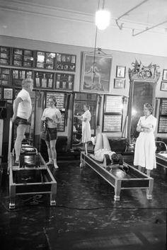 Fun with Pilates! Vintage still of Joseph Pilates at work. Jupiter Massage Pilates 125 W Indiantown Rd Jupiter, FL 33458 Pilates Studio, Le Pilates, Pilates Instructor, Pilates Reformer, Pilates Workout, Workouts, Fitness Pilates, Pranayama, Aikido