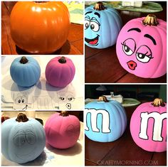 M&M Painted Pumpkins! Clever No Carve/Painted Pumpkin Ideas for Kids - Crafty Morning M&M Painted Pumpkins! Clever No Carve/Painted Pumpkin Ideas for Kids - Crafty Morning Cute Pumpkin, Pumpkin Crafts, Pumpkin Ideas, Pumpkin Designs, Pumpkin Faces, Halloween Pumpkins, Halloween Crafts, Halloween Decorations, Halloween Costumes