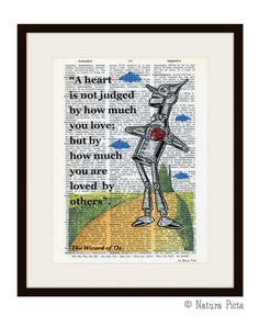 A heart is not judged Wizard of Oz quote Tin Man dictionary print - on Upcycled Vintage Dictionary page - by NATURA PICTA