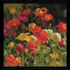 Leon Roulette 'Iceland Poppies' Framed Art Print 32 x 32-inch
