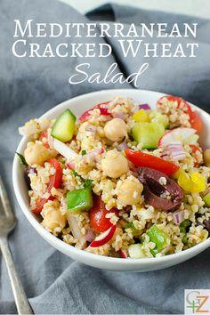 Mediterranean Cracked Wheat Salad | Garlic + Zest Side Dish Recipes, Veggie Recipes, Salad Recipes, Vegetarian Recipes, Veggie Meals, Side Dishes, Delicious Vegan Recipes, Healthy Recipes, Diabetic Recipes