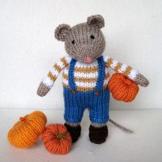 PIP the MOUSE and pumpkins - knitted toy doll - PDF email knitting pattern $3.95