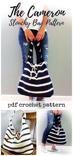 Slouchy beach bag crochet pattern. I love the stripes in this beach bag. Looks so fun and casual for summer! #etsy #ad #pdf #crochet #pattern #purse #women