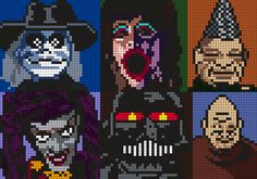 Puppets Blade, Leech Woman, Tunneler, Jester, Torch And Pinhead From Puppet Master Perler Bead Pattern / Bead Sprite