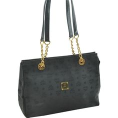 Pre-owned Mcm Chain Tote Black Gold Tone Shoulder Bag ($330) ❤ liked on Polyvore featuring bags, handbags, tote bags, none, black tote, black purse, mcm handbags, pocket tote and preowned handbags