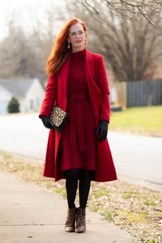 Red look with sweater dress and women's red wool coat Fashion Over Fifty, The Chai, Red Wool Coat, Red Booties, Target Dresses, Wear Red, Double Breasted Coat, Photos Of Women, Sweater Outfits