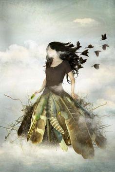 Empty Nest - Photo Collage on Watercolor Paper Photography by artist Elisabeth Ladwig Modern Surrealism, Fairytale Art, Surreal Art, Bird Art, Watercolor Paper, Fine Art Paper, Fantasy Art, Fairy Tales, Art Gallery
