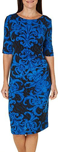 Connected Apparel Womens Printed Gathered Wear to Work Dress Blue 8 -- Continue @