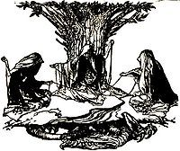 Urd, Verdande og Skuld (norrønt: Urðr, Verðandi ok Skuld) er i nordisk mytologi et kollektiv af tre skæbnegudinder, også kaldet norner.  De sidder i Asgård under verdenstræet Yggdrasil ved Urds brønd og spinder de levendes livstråde og klipper dem til.  Traditionelt er navnene Urd, Verdande og Skuld, blevet oversat til fortid, nutid og fremtid, hvilket dog sandsynligvis ikke dækker betydningen komplet. Nogle forskere mener imidlertid, at der ikke findes noget i den nordiske mytologi, som…
