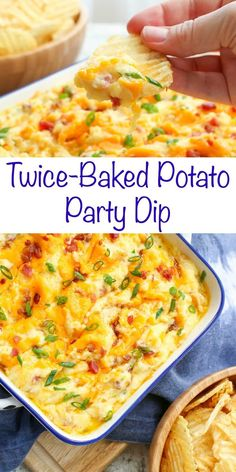 Twice Baked Potato Party Dip - get the recipe at barefeetinthekitc. Twice Baked Potato Party Dip – get the recipe at barefeetinthekitc… Twice Ba Potato Appetizers, Appetizer Dips, Yummy Appetizers, Appetizers For Party, Appetizer Recipes, Simple Appetizers, Party Dip Recipes, Party Snacks, Appetizer Dessert
